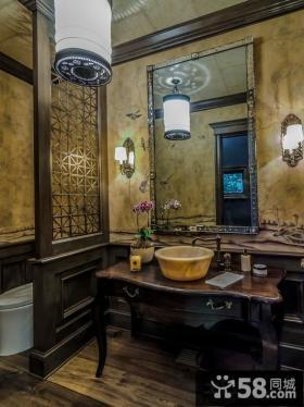 中式洗手间隔断效果图