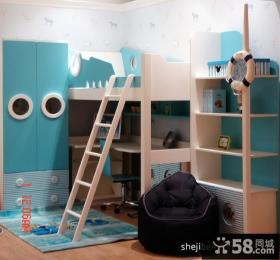 蓝色儿童房书桌效果图