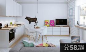 清新北欧风格一居室效果图