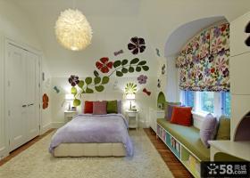 儿童房飘窗装修效果图 地中海飘窗窗帘图片