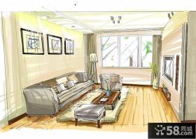 手绘室内客厅效果图