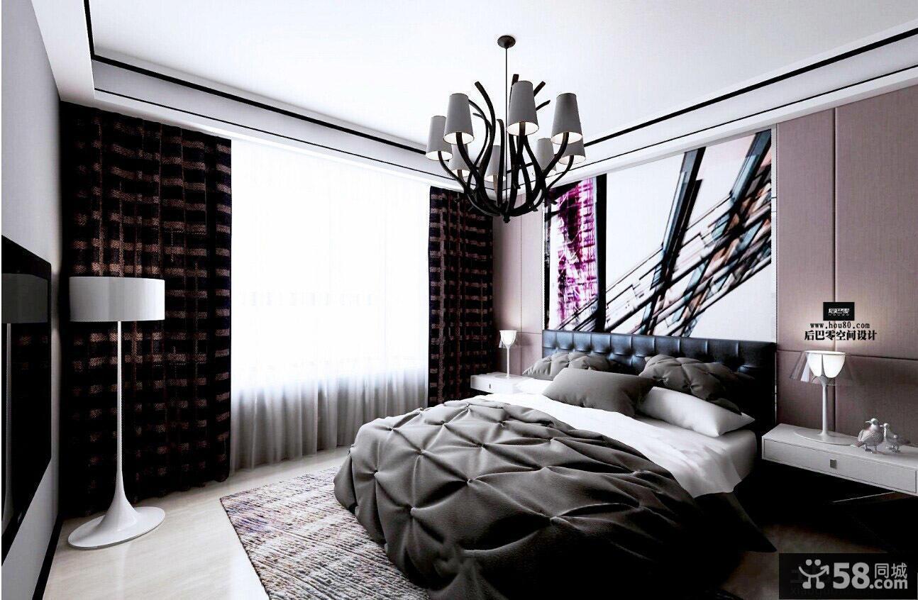 现代黑白色风格卧室图片