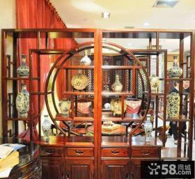 中式风格客厅博古架图片
