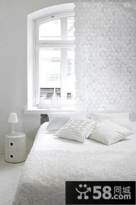 纯白简约风格卧室装修效果图 卧室创意窗帘效果图