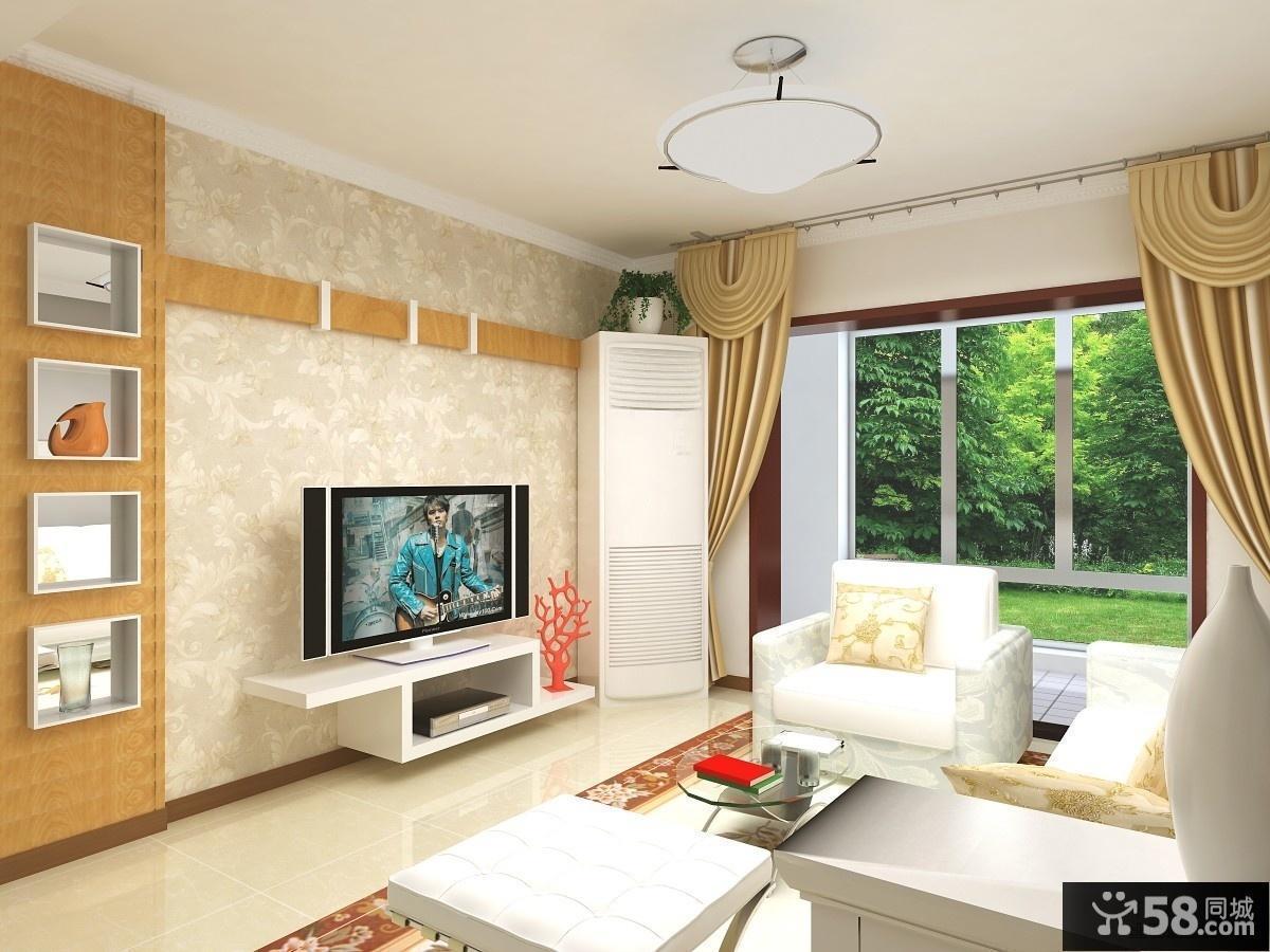 橙色的边线客厅电视背景墙给人一种理性的感觉
