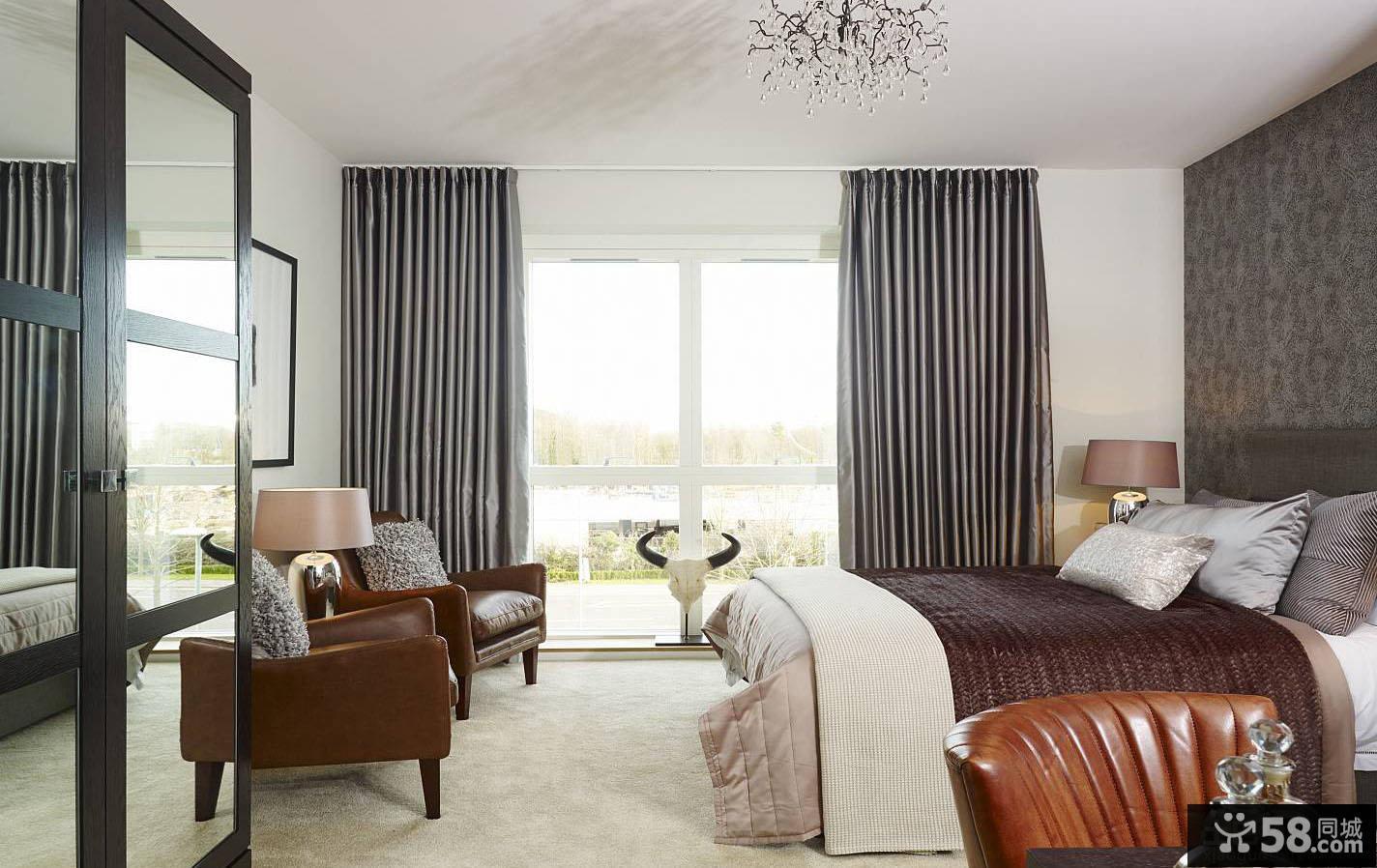 美式卧室高窗落地窗帘效果图