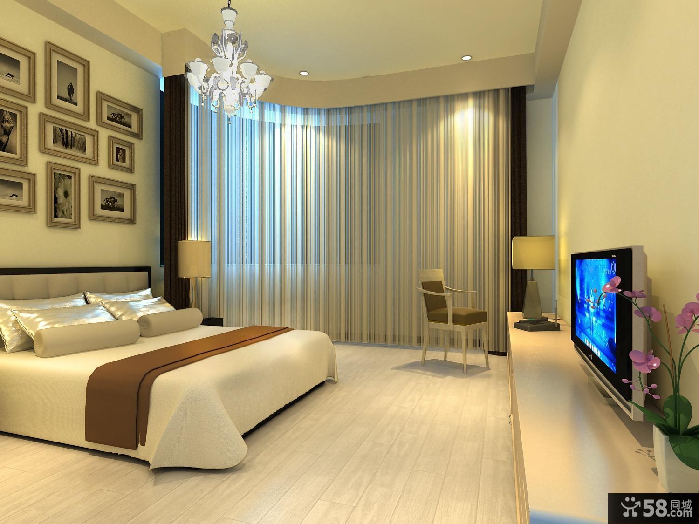 小三居创意卧室窗帘装修效果图大全2014图片