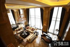 欧式风格客厅俯视效果图
