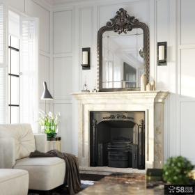 美式客厅壁炉装修设计图片