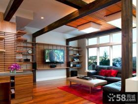 现代客厅实木电视背景墙装修效果图大全