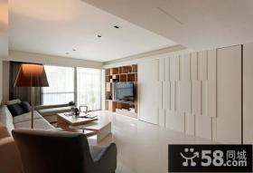 50平米白色简约单身公寓客厅装修效果图大全2014图片