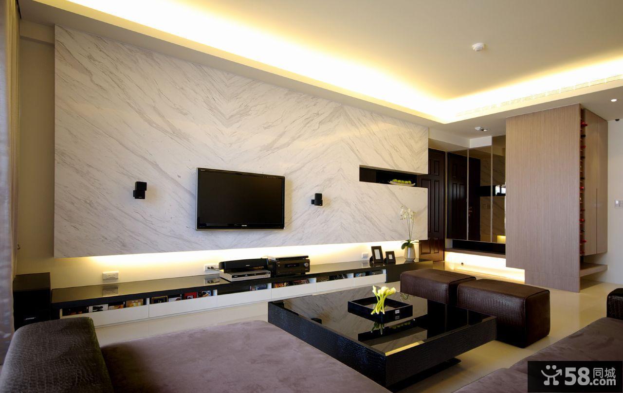 现代家装大理石客厅背景墙装修