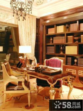 美式风格豪华书房设计效果图