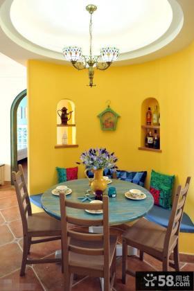 地中海风格餐厅圆形吊顶效果图欣赏
