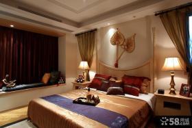 中式卧室飘窗窗帘效果图