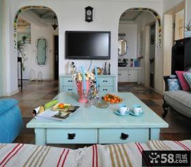 地中海风格室内电视墙隔断效果图欣赏