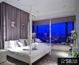 欧式卧室床头窗帘装修效果图