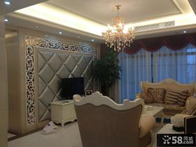 欧式客厅水晶灯吊顶效果图片