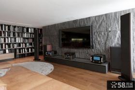 现代砂岩电视背景墙装修效果图