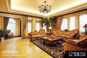 美式别墅客厅沙发茶几效果图片大全