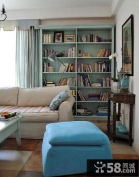 地中海风格家居客厅书柜图片