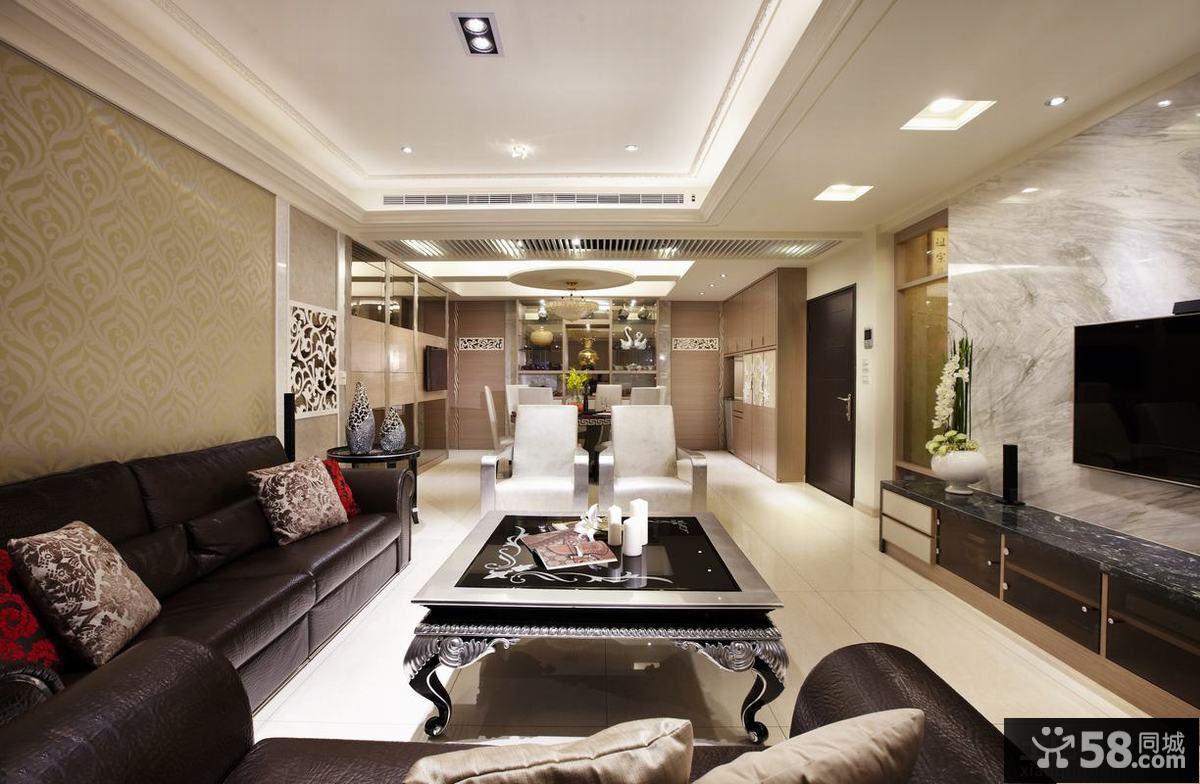 现代风格居家客厅方形吊顶图片欣赏