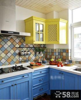地中海风格厨房彩色墙砖效果图
