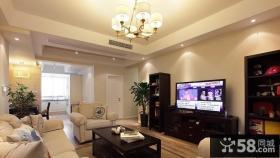 简约美式家装客厅电视组合柜效果图