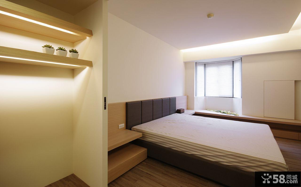 简约风格卧室床头搁架装修效果图