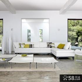 别墅客厅白色家具效果图片
