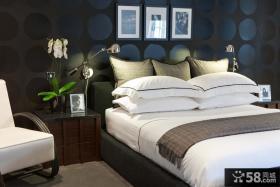美式现代卧室装修效果图大全2012图片 卧室床头画框背景墙装修效果图
