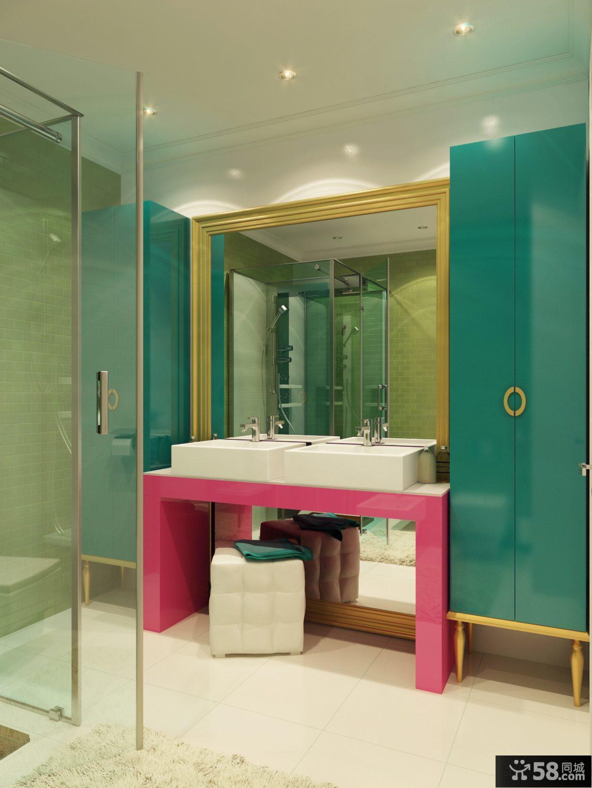 欧式卫生间洗手台设计效果图片大全