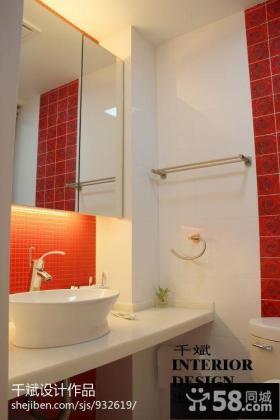 卫生间洗手台镜子图片