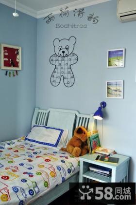 简约小空间儿童房墙面手绘图片