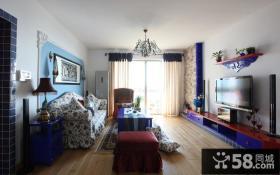 地中海风格客厅沙发背景墙效果图