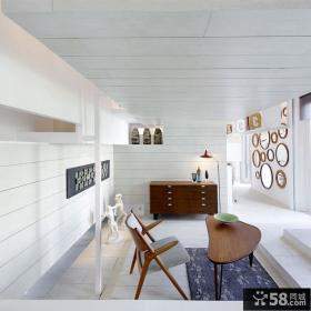 纯白色的简约风格客厅装修效果图大全2014图片