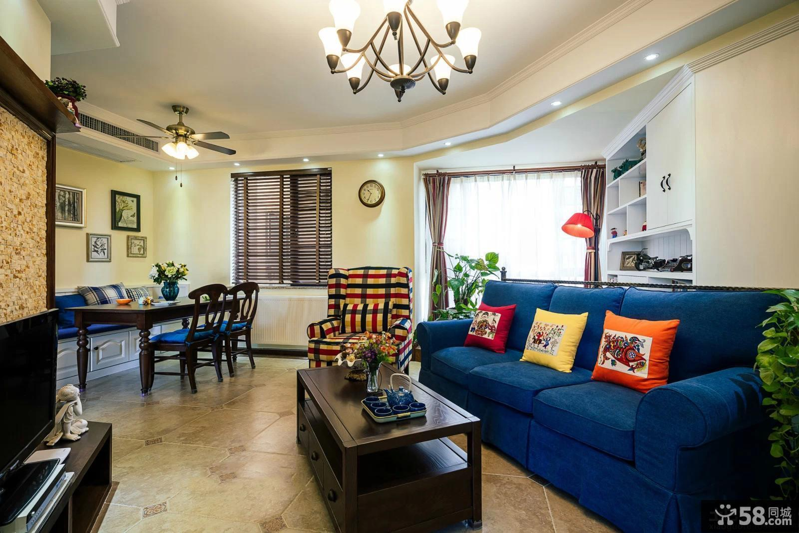 94平米田园两室一厅户型室内色彩搭配效果图
