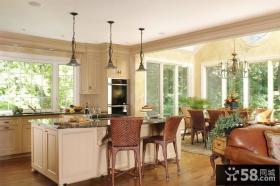开放式厨房装修效果图 欧式田园厨房装修效果图