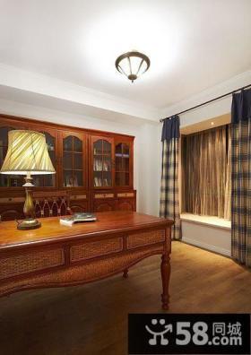 美式书房实木家具图片