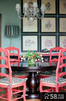 后现代风格餐厅吊顶装修 粉色浪漫的桌椅装修效果图