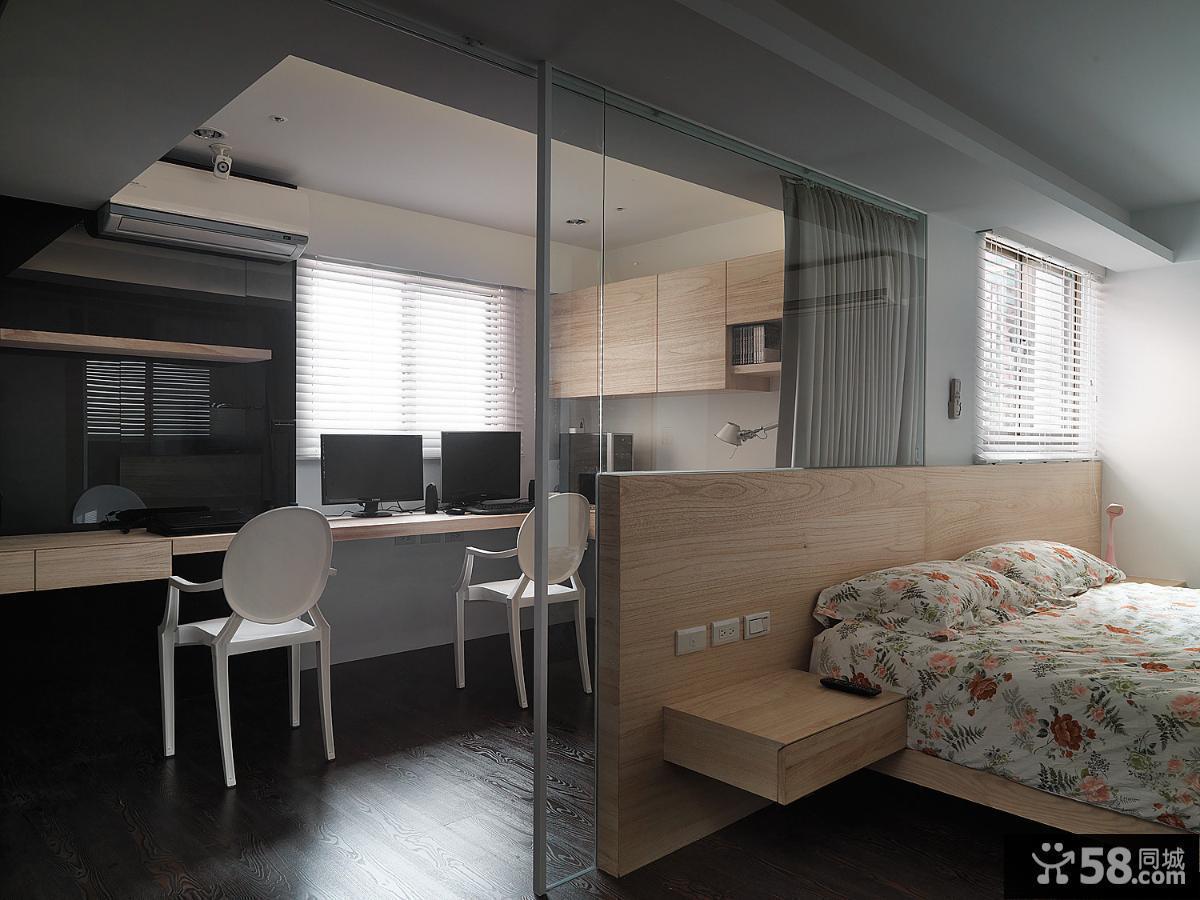现代简约卧室书房玻璃隔断装修效果图