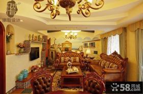 美式客厅沙发手绘背景墙效果图
