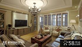 美式客厅电视组合柜装修效果图
