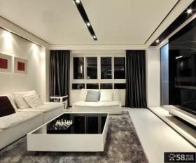 现代简约客厅黑色窗帘图片