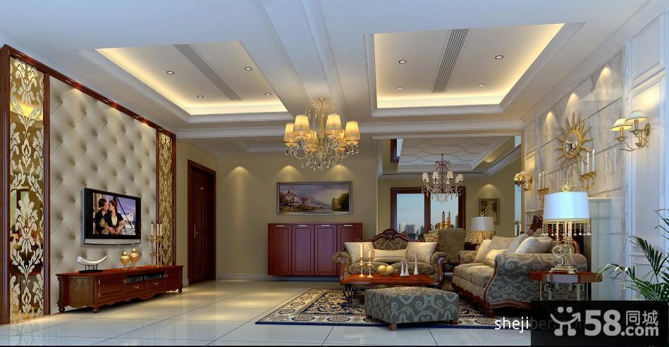 歐式客廳裝修效果圖 歐式客廳石膏板吊頂效果圖