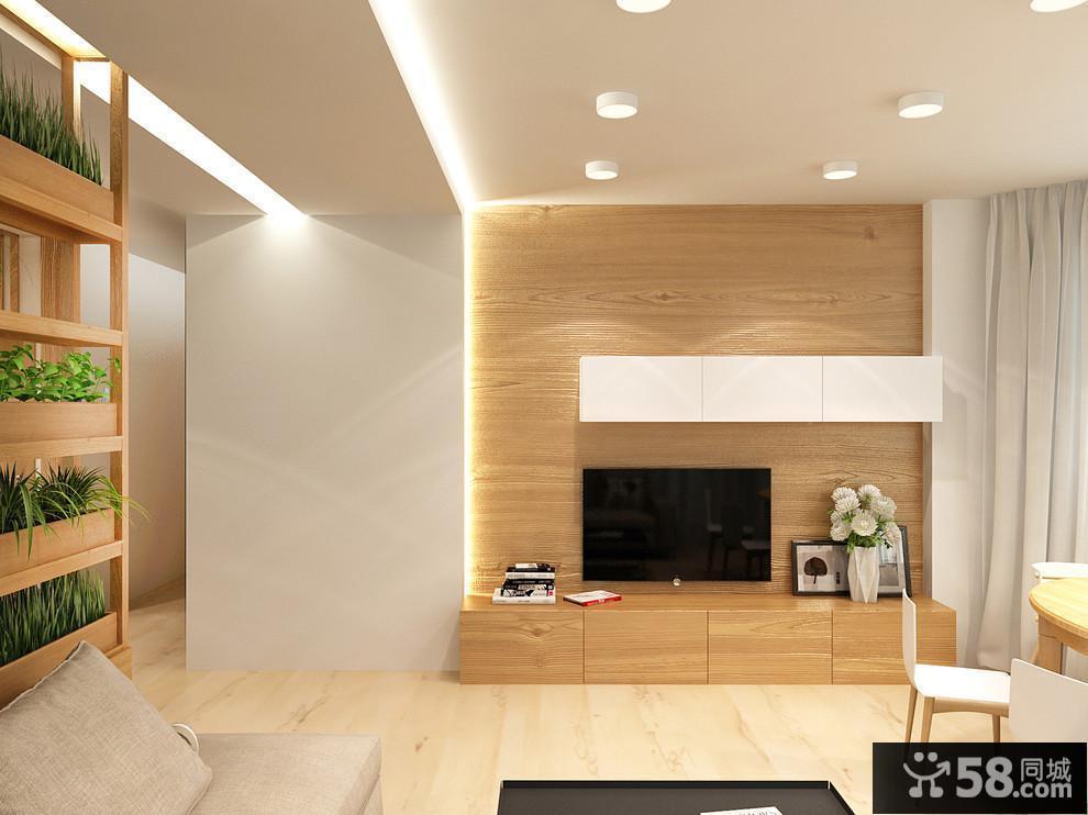 现代简约客厅电视背景墙装修图