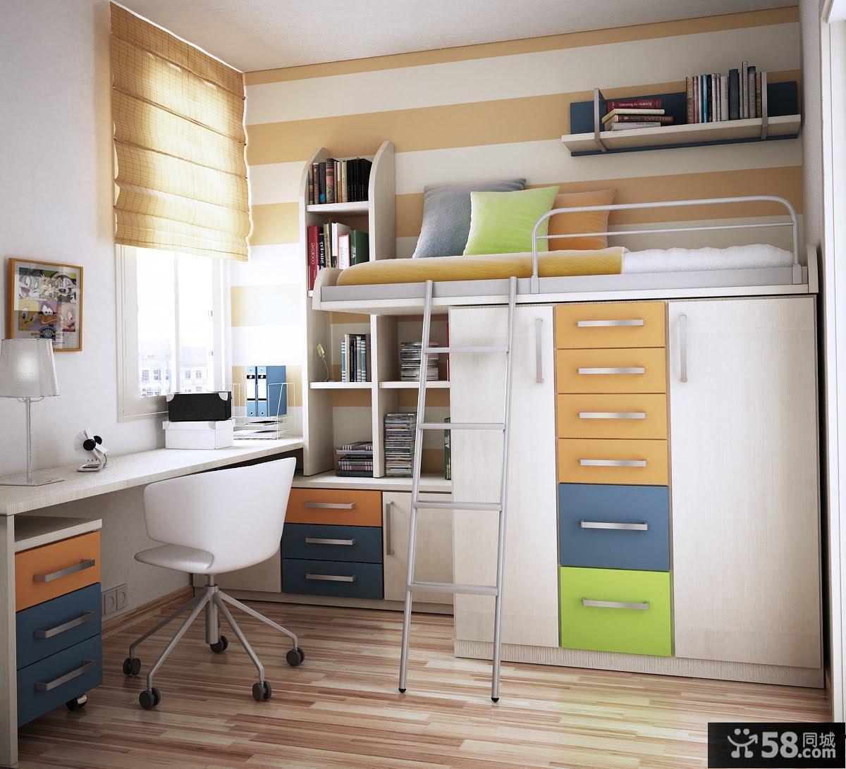 卧室小书房设计效果图 - 58装修效果图图片