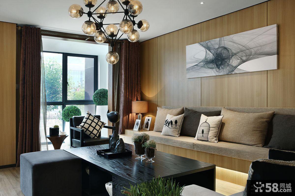 宜家风格客厅木质墙面装饰画图片