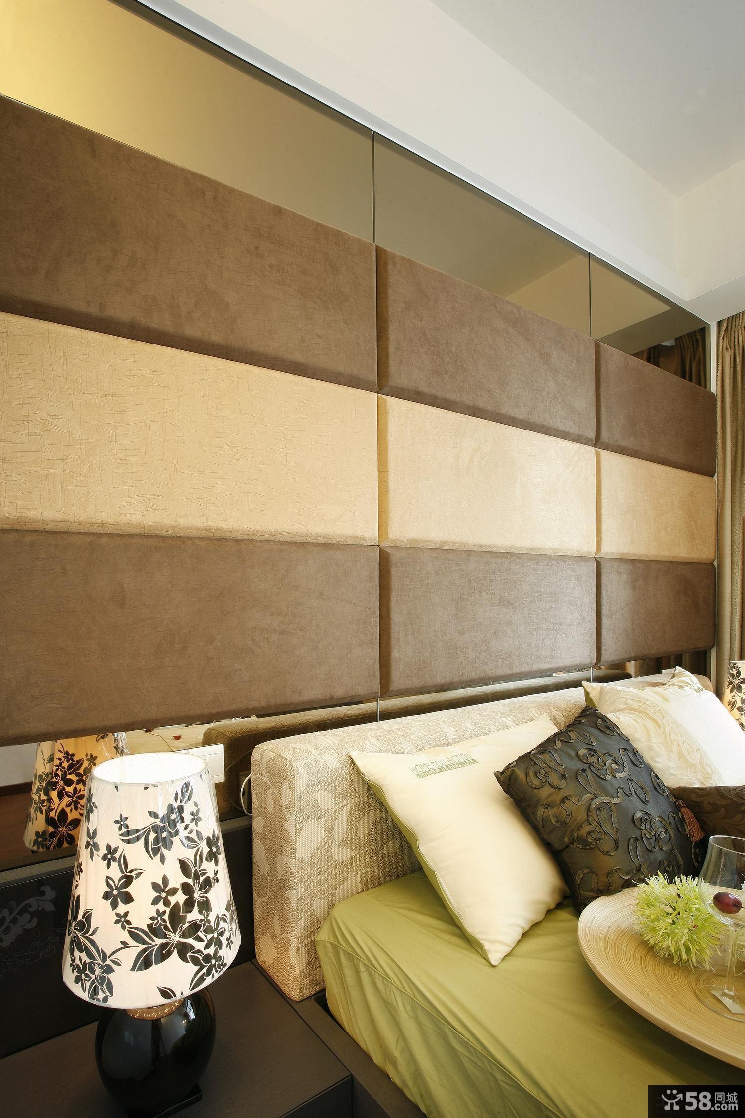 简约卧室硬包背景墙装修效果图