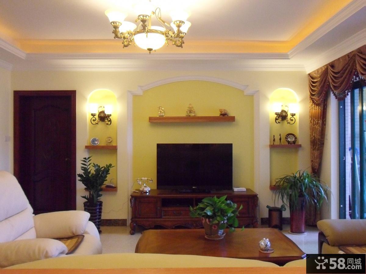 美式风格客厅电视背景墙效果图片